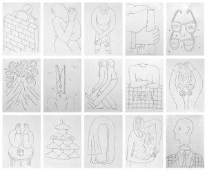Séverin Millet - Extraits d'une série de 100dessins.<br> Crayonsurpapier<br>  Format:21/29,7cm<br> 2019